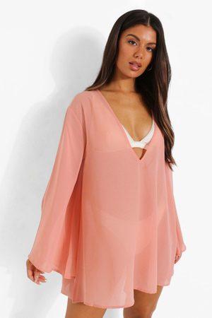 Boohoo Womens Oversized Flared Sleeve Beach Dress - - S