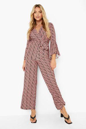 Boohoo Womens Floral Print Tie Front Wide Leg Jumpsuit - - 4