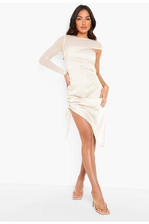 Boohoo Womens Mesh Sleeve Ruched Detail Mini Dress - - 2
