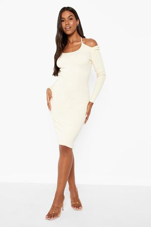 Boohoo Womens Premium Rib Cold Shoulder Halterneck Midi Dress - - 4