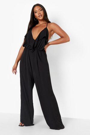 Boohoo Womens Plus Ruffle Cullotte Jumpsuit - - 12