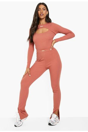 Boohoo Women Sweats - Womens Premium Rib Split Hem Legging - - 2