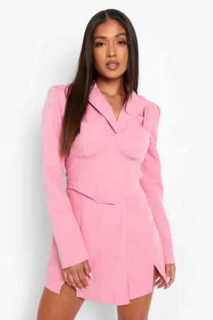 Boohoo Womens Petite Blazer And Bralet Mini Dress - - 2