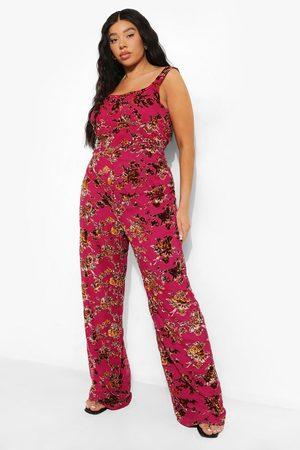 Boohoo Womens Plus Floral Corset Detail Wide Leg Jumpsuit - - 12