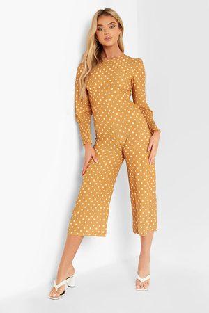 Boohoo Womens Polka Dot Shirred Cuff Culotte Jumpsuit - - 4