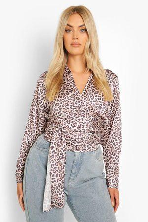Boohoo Womens Plus Leopard Print Wrap Satin Blouse - - 12