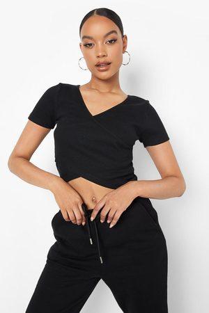 Boohoo Womens Rib Short Sleeve Wrap Top - - 2