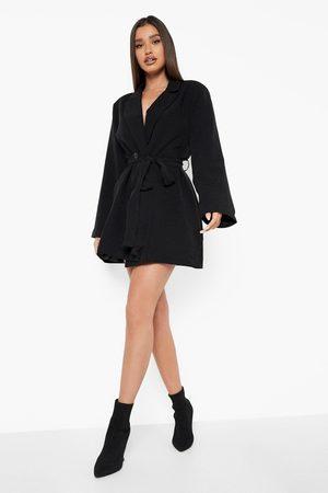 Boohoo Womens Flared Sleeve Oversized Blazer Dress - - 4