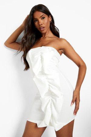 Boohoo Womens Bandeau Extreme Ruffle Mini Dress - - 2