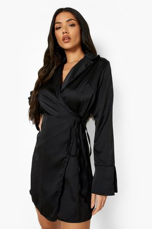Boohoo Womens Satin Wrap Belted Mini Dress - - 2