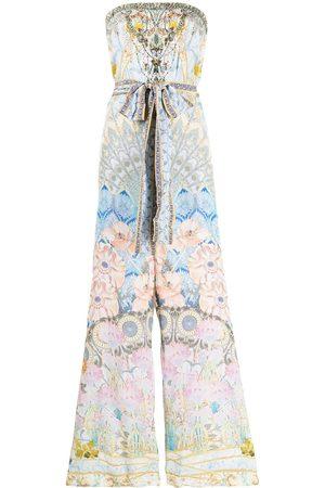 Camilla Women Jumpsuits - Graphic-print tie-waist strapless silk jumpsuit - Multicolour