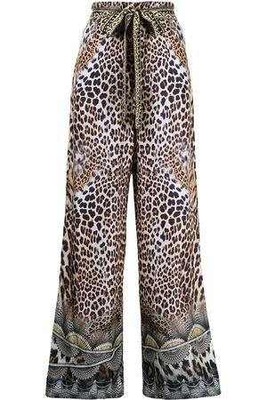 Camilla Women Pants - High-waisted graphic-print silk pants