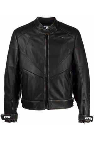 Diesel Men Leather Jackets - Ribbed-panel biker jacket