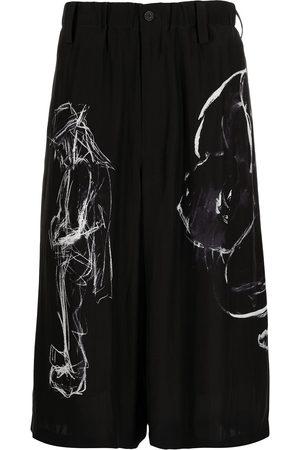 Yohji Yamamoto Abstract-print silk shorts
