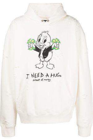DOMREBEL Graphic-print pullover hoodie - IVORY