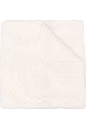 Msgm Ribbed-knit logo patch scarf - Neutrals