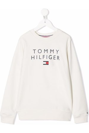 Tommy Hilfiger Boys Hoodies - Logo print sweatshirt - Neutrals