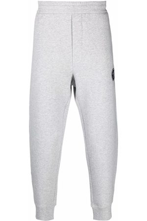 Emporio Armani Men Sweatpants - Embroidered-logo cotton track trousers - Grey