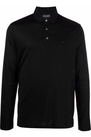 Emporio Armani Men Polo Shirts - Logo-print long-sleeved polo top