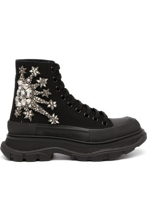 Alexander McQueen Women Platform Sneakers - Crystal lace-up platform sneakers