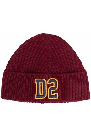Dsquared2 Hats - Logo-patch ribbed-knit hat
