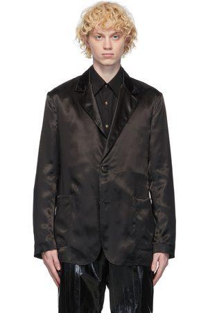 Dunhill Men Blazers - Black Satin Wrap Blazer