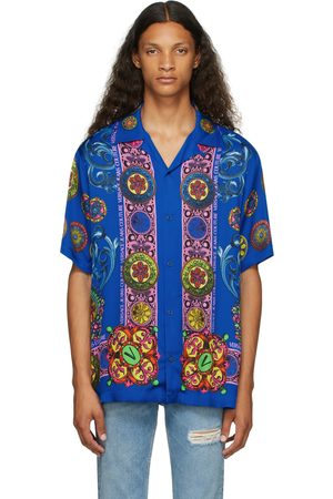 Versace Jeans Couture Blue Bowling Short Sleeve Shirt