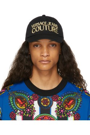 Versace Jeans Couture Black & Gold Embroidered Logo Cap