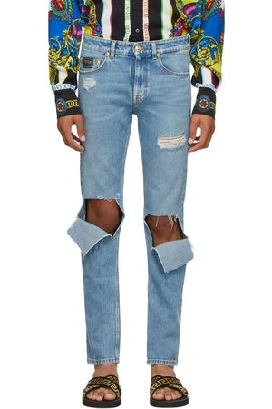 VERSACE Blue Straight Leg Ripped Jeans