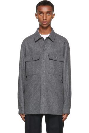 Jil Sander Men Casual - Grey Compact Wool Shirt Jacket