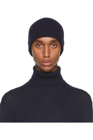 Jil Sander Men Beanies - Navy Knit Wool Beanie