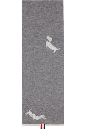 Thom Browne Women Scarves - Grey Intarsia Hector Icon Half Drop 4-Bar Scarf