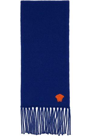 Versace Blue Cashmere Medusa Scarf
