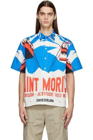 MSGM White & Blue Graphic Short Sleeve Shirt