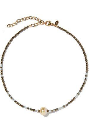 Joie DiGiovanni Aquamarine Ombre Single Tahitian Pearl Gemstone Necklace