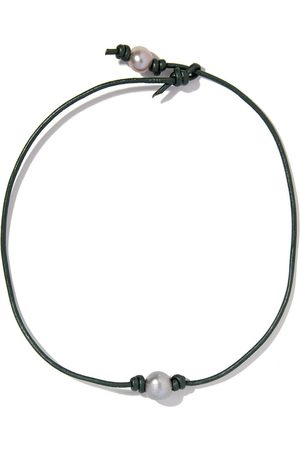 """Joie DiGiovanni Grey Freshwater Pearl Leather Necklace 14"""""""