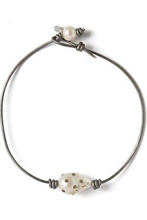 "Joie DiGiovanni Diamond Baroque Pearl and Leather Choker 14"""