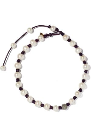 Joie DiGiovanni Knotted Leather Diamond And Pearl Necklace