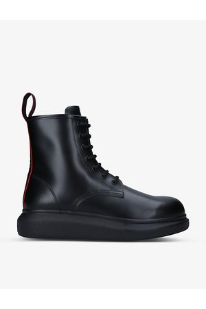 Alexander McQueen Hybrid Liquid lace-up leather ankle boots