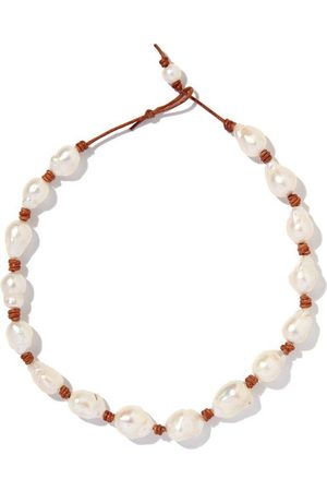Joie DiGiovanni Knotted Leather Baroque Pearl Necklace