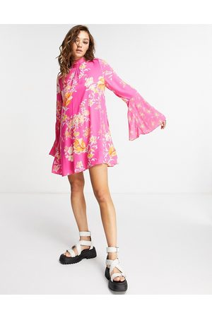 Free People Women Printed Dresses - Tate flared sleeve floral tunic in multi