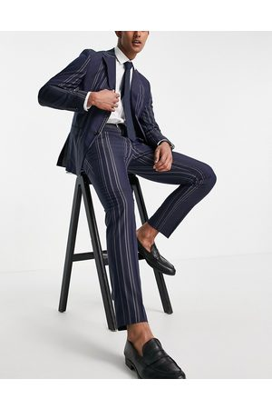 SELECTED Slim fit suit pants in navy and white stripes-Multi