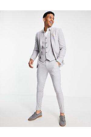ASOS Men Skinny Pants - Wedding super skinny suit pants in ice micro texture-Grey