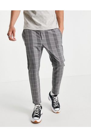 Only & Sons Men Chinos - Plaid pants with drawstring waist in -Grey