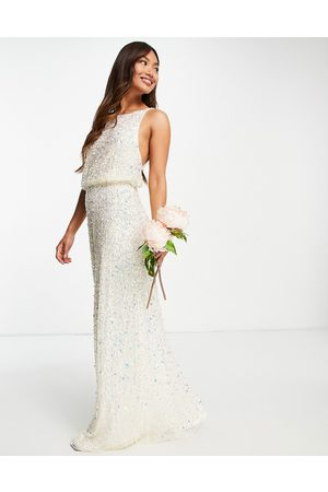 Maya Women Party Dresses - Bridal maxi wedding dress with low back in all-over 3D ecru sequins
