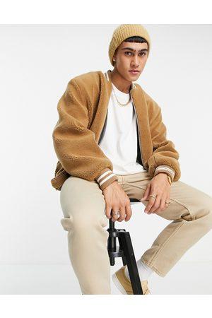 ASOS Men Fleece Jackets - Oversized fleece bomber jacket in camel