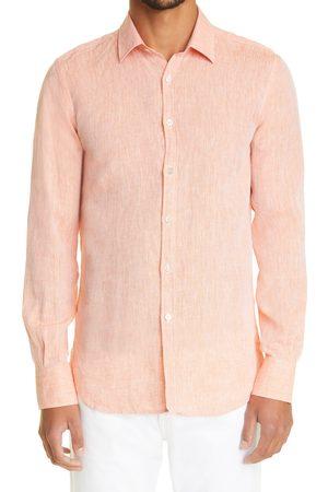 CANALI Men's Slub Linen Dress Shirt