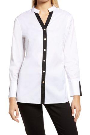 Ming Wang Women Long sleeves - Women's Contrast Placket Long Sleeve Shirt