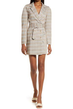 Adelyn Rae Women's Don Windowpane Long Sleeve Belted Blazer Minidress