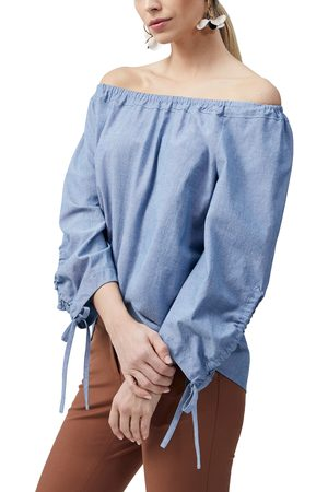 Lafayette 148 New York Women Strapless Tops - Women's Keene Off The Shoulder Cotton Chambray Blouse